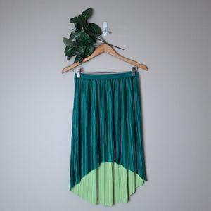 Reversible neon green high low midi skirt w pleats